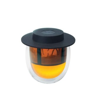 Finum Finum Double Wall Glass+filter+lid Black200ml-hot Glass