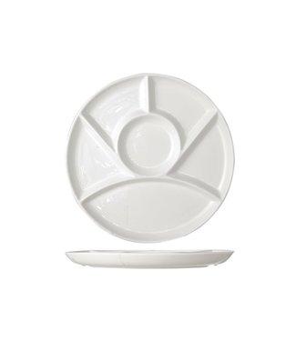 Cosy & Trendy Fondue plate - D24.5cm - 6 compartments - Porcelain - (set of 6)
