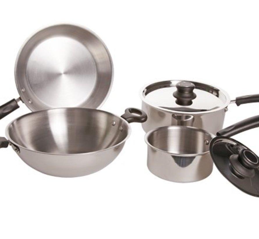 Kookpottenset 6-delig Wok D:26cm - braadpan D:24cm - kookpot 16cm - kookpot 22cm geen Inductie