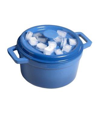 Cosy & Trendy Bergerac Kookpot Blauw 4,5l D24xh13cmplat Deksel - Gietijzer Binnenkant Cream