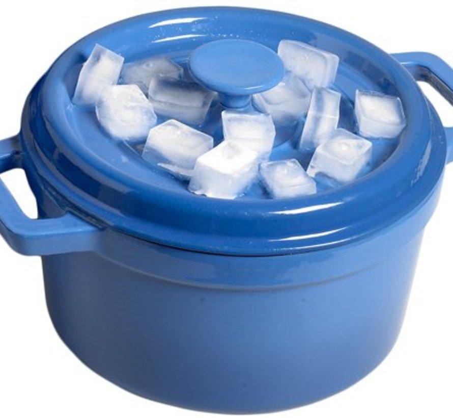 Bergerac Kookpot M.plat Deksel Blauw 4,5l D24xh13cm Gietijzer Binnenkant Cream
