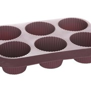 Cosy & Trendy Love Baking Bakvorm 6muffins Paars-chocolade 29x20xh5,5cm Silicone