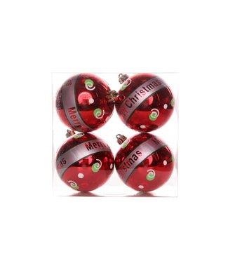 Cosy @ Home Weihnball RÖt Merry Christmas 8cm 4stkhangdeco In Pvc Box