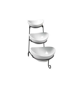 Cosy & Trendy Buffet Etagere Black With 3 Dishes-white11.5x13 - 14.5x16 - 18.5x20cm - H33cm