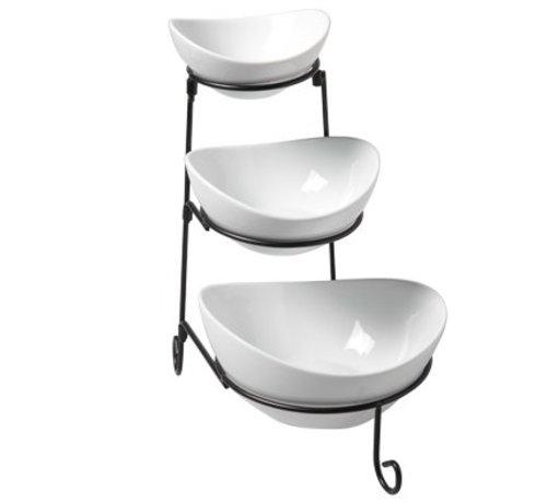 Cosy & Trendy Buffet Etagere M.3schalen Zwart-wit H33cm 11,5x13cm - 14,5x16cm - 18,5x20cm