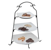 Cosy & Trendy Stand Plates Black With 3 Plate White18.5x18.5 - 24.5x24.5 - 28.5x28.5cm- H48