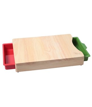 Cosy & Trendy Cut. Board Rubberwood 35.5x25.5x5.5 W.2receptacles