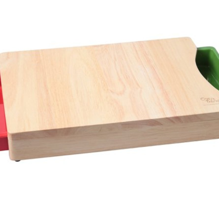 Snijplank Met 2 Opvangbakjes 35.5x25.5x5.5cm Bamboe