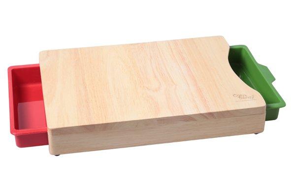 CT Snijplank Met 2 Opvangbakjes 35.5x25.5x5.5cm Bamboe