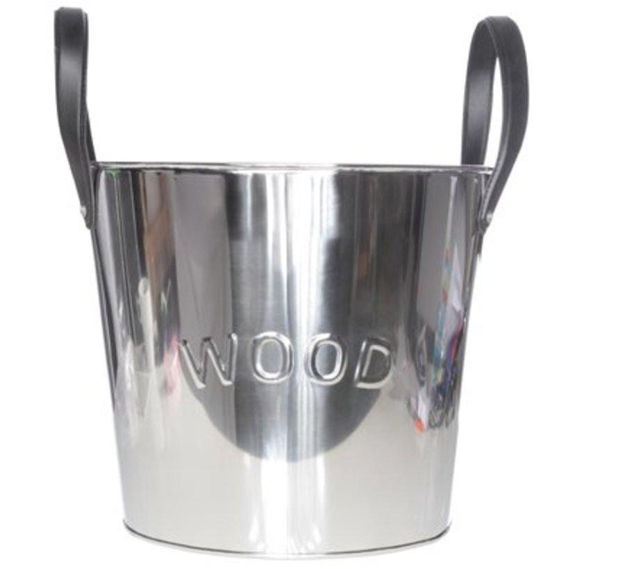 Bucket Metal H31cm W. Leather Handles