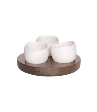 Cosy & Trendy Bao Apero set Basis Hout - 3 Potjes Wit