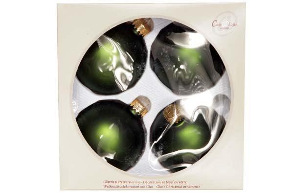 Cosy @ Home Kerstbal Set4 Mat Grasgroen D8cm Glas