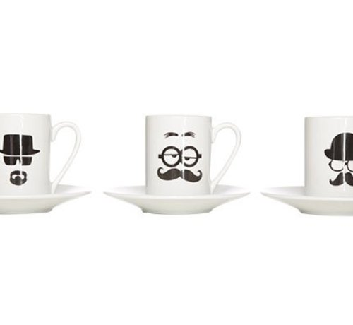 Cosy & Trendy Men In Black Cup And Saucer 18cl Set 62x3ass - Cup D6.5xh8.5 - Sacuer D14.5cm