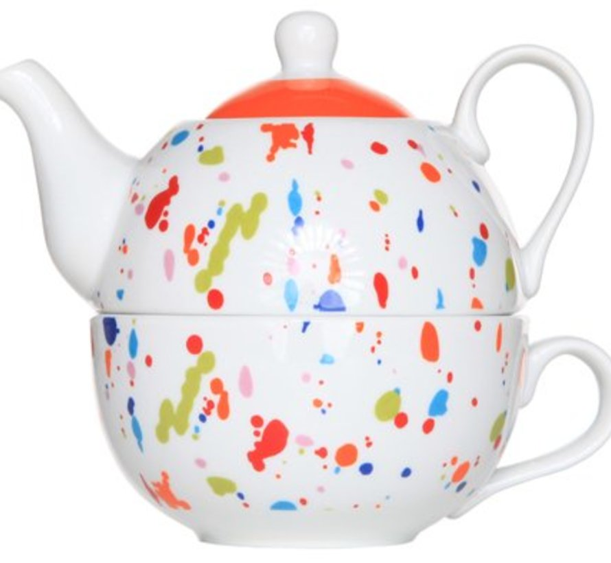 Teapot With Cup Deco Colored Spotsd11xh14cm