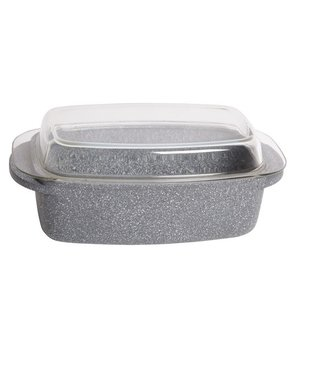Cosy & Trendy Marble Braadslede Rh Gietalu 40x22xh16inductie Geschikt En Deksel Glas