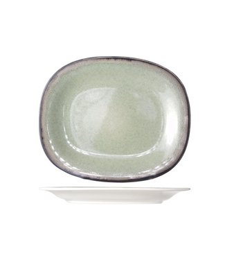 Cosy & Trendy Fez  Groen Ovale Dessertborden - Aardewerk - 19.5x23.5cm (Set van 6)
