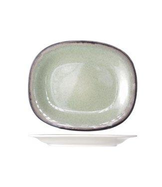 Cosy & Trendy Fez Servies Groen Ovale Dessertborden - Aardewerk - 19.5x23.5cm