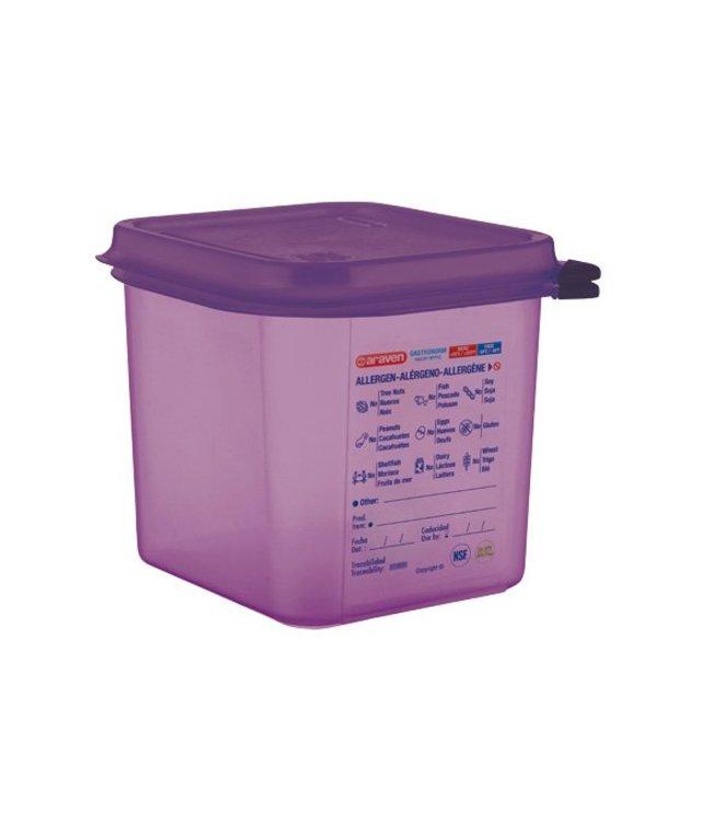 Araven Airtight Foodcontainer - Gn1-6 - Purper - 2,6L - 17.6x16,2x15cm - Polypropyleen - (set van 6)