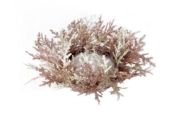 Cosy @ Home Krans Glitter Oud Roze Mat Champ 23cm