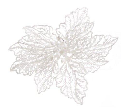 Cosy @ Home Kerstroos Op Clip Glitter Wit D15cm (set van 48)