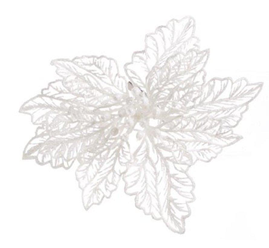 Kerstroos Op Clip Glitter Wit D15cm (set van 48)