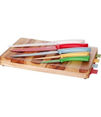 Cosy & Trendy Set van Snijplank Acacia en 5 keukenmessen