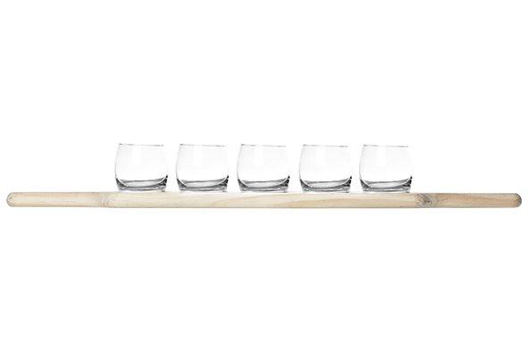 Cosy & Trendy Aperoset 5 Glazen 1 Houten Plankjeglas D6.4x6cm Plankje 59.5x9.7x1.8cm