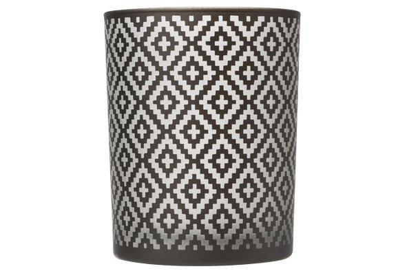 Cosy & Trendy T-lichth Ruit Zwart Wit 10x10x12.5cm