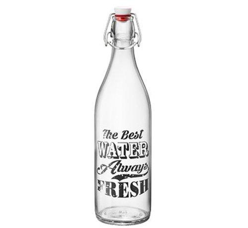 Bormioli Giara Vintage Label Fles 1l Zwart (set van 6)
