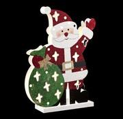 Cosy @ Home Houten Kerstman Met Led 21x6xh30cmexcl 3 Aa Batt