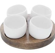 Cosy & Trendy Bao Aperoset Holzbasis - 4 Weiße Topfe