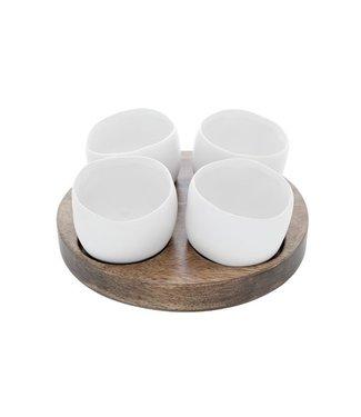 Cosy & Trendy Bao Aperoset Basis Hout - 4 Potjes Wit