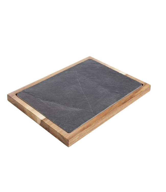Cosy & Trendy Acacia - Plank - Zwart - 35x25xh2.5cm - Leisteen - (set van 2)