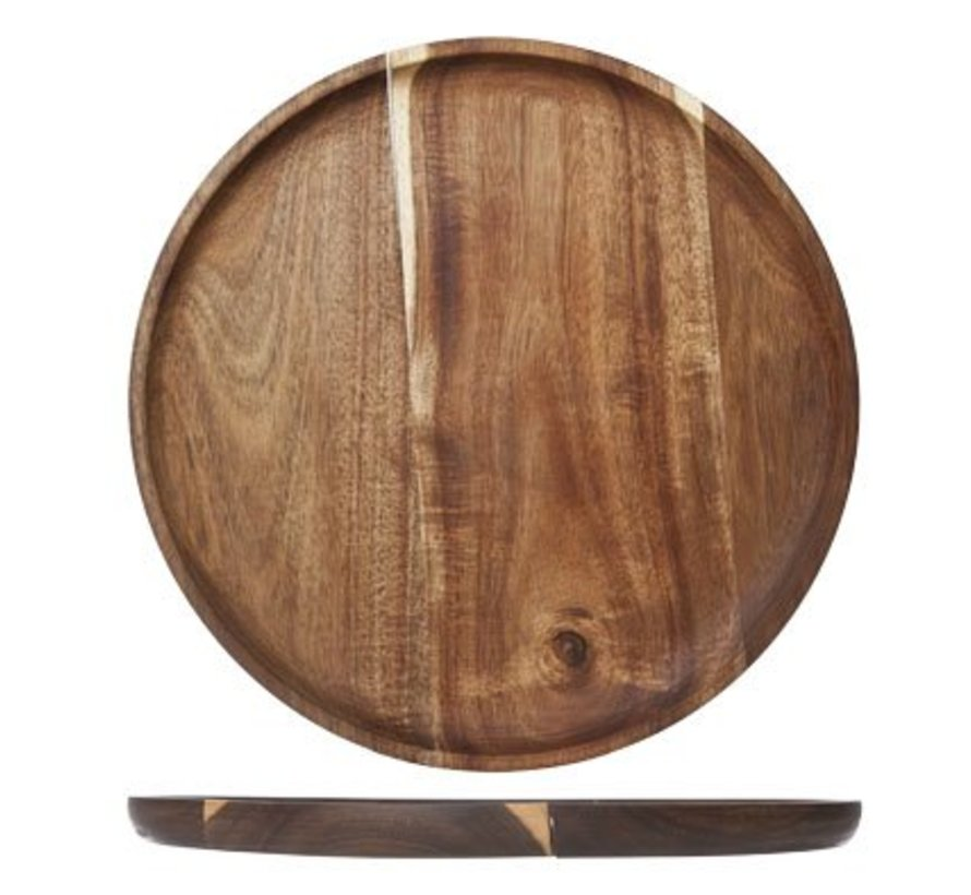 Wooden Plate Round D30x2cmoil Coating