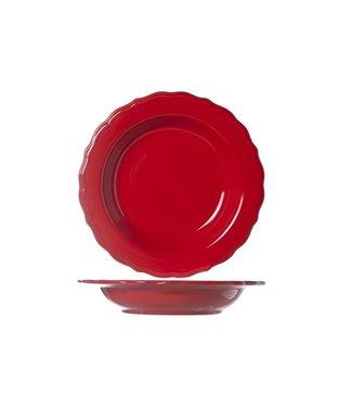 Cosy & Trendy Juliet Red Diepe Borden Blinkend - Aardewerk - D23cm (Set van 6)