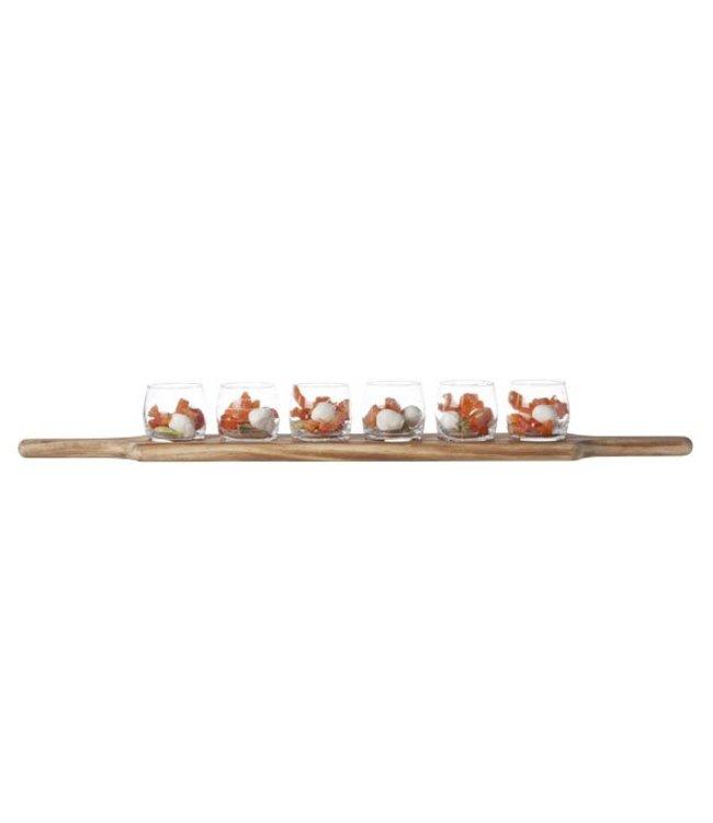 Cosy & Trendy Aperoset  - Glas - 6 glazen D6.4x6cm - 1 houten Plankje 66.5x9.5x1.8cm - Glas/Hout