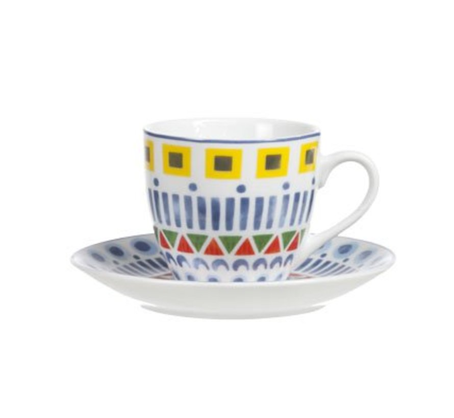 Maya Espresso Tas En Ondertas Set 6tas D6.5xh6cm - Ondertas D12cm