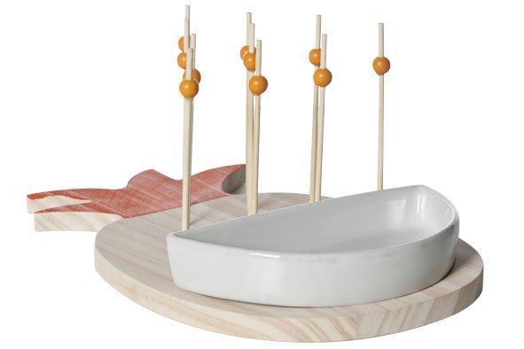 Cosy & Trendy Prikkerplankje Ananas Rd.  - 15 Prikkers27.5x18x3.8cm Hout Oranje