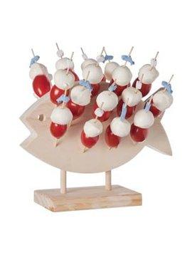 Cosy & Trendy 1pc Wooden Pick Holder Fish 24cs Picks20.5x5.5xh4cm