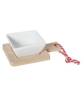 Cosy & Trendy Dish On Bamboo Tray 14x10x4.2cm - Earthenware (set of 6)