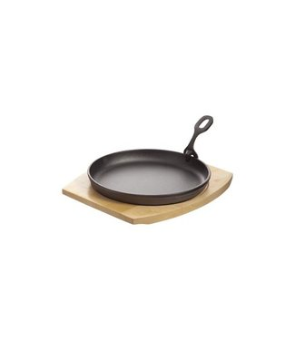 Cosy & Trendy Cast Iron Plate 22cm On Wooden B Coatedwith Detachable Grip