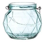 Cosy @ Home Lantaarn Geometr Glas Aqua 12.3x12x10.5 (set van 4)