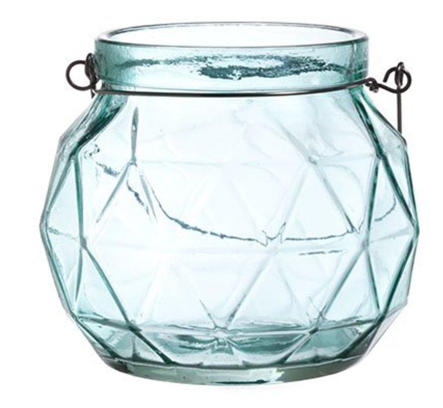 Lantaarn Geometr Glas Aqua 12.3x12x10.5 (set van 4)