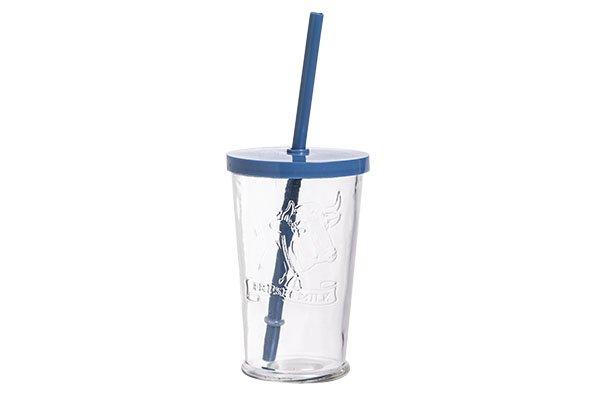 Cosy & Trendy Glas 'fresh Milk' D7.5xh11.7cm  25clmet Deksel En Rietje Blauw