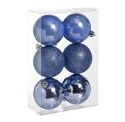 Cosy @ Home Ball Plastik Set6 Blau Lavendel D8cmmix Glanzend - Glitzer - Perle