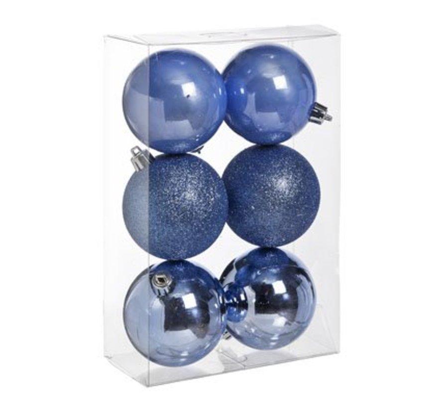 Ball Plastik Set6 Blau Lavendel D8cmmix Glanzend - Glitzer - Perle