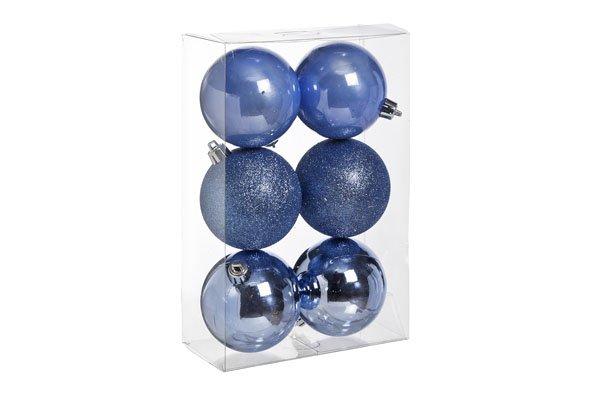 Cosy @ Home Bal Onbreekbaar Set6 Blauw Lavendel 8cmmix Mat Glitter Blinkend