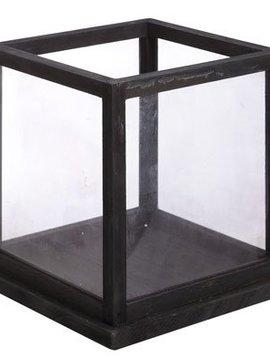 Cosy @ Home Windlicht Hout Glas Zwart 28x28x28cm