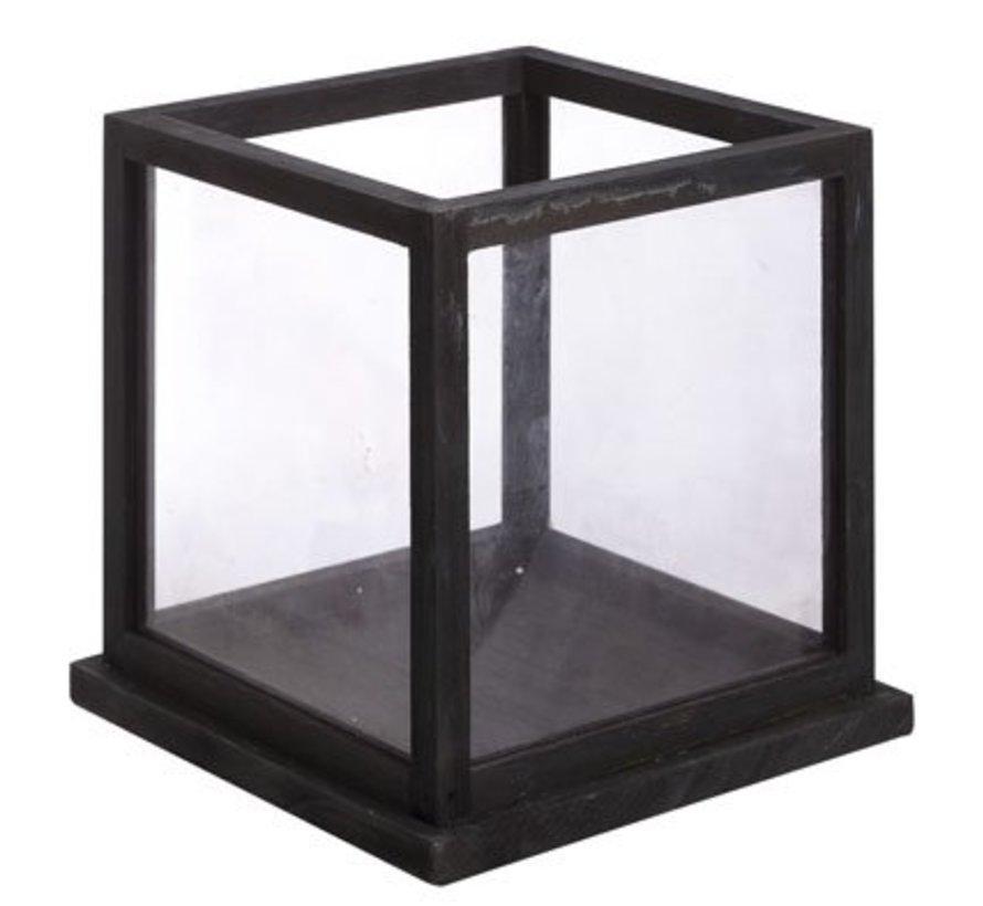 Windlicht Holz Und Glas Schwarz 28x28x28