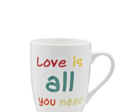 Cosy & Trendy Beker All You Need Is Love 30cl D8.2cmwit Met Kleurtjes (set van 6)